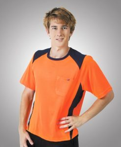 Mens Hi Vis Poly Cool Dry Work Tee with pocket