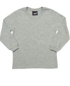 Kids Long Sleeve Tee - Grey Marle, 8