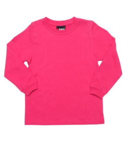 Kids Long Sleeve Tee - Hot pink, 10