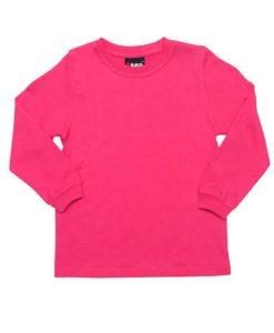 Kids Long Sleeve Tee - Hot pink, 4