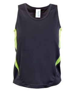 Kids Poly Sports Singlet - Charcoal/Lime, 14