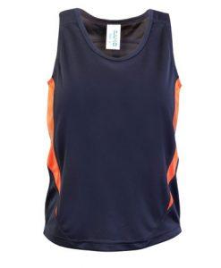 Kids Poly Sports Singlet - Charcoal/Orange, 12