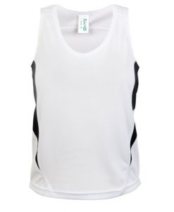 Kids Poly Sports Singlet - White/Black, 12