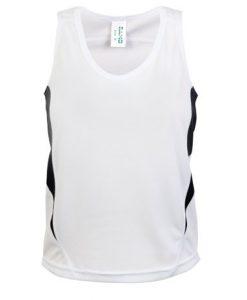 Kids Poly Sports Singlet - White/Black, 4