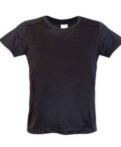 Kids Sports Tee - Cool Dry Tshirt - Black, 10