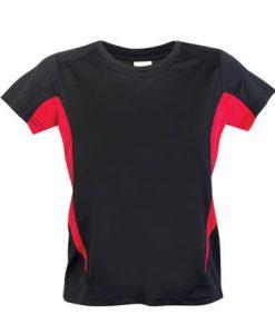 Kids Sports Tee - Cool Dry Tshirt - Black/Red, 14
