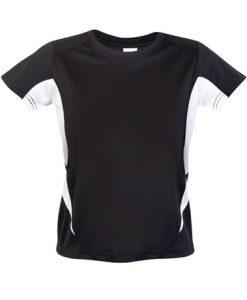 Kids Sports Tee - Cool Dry Tshirt - Black/White, 16