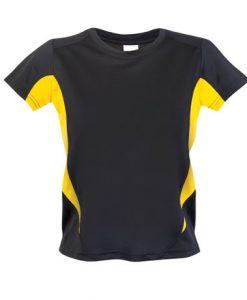 Kids Sports Tee - Cool Dry Tshirt - Black/Yellow, 4