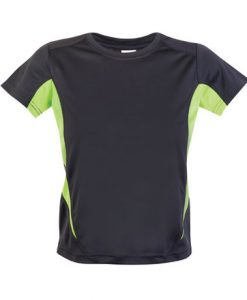 Kids Sports Tee - Cool Dry Tshirt - Charcoal/Lime, 10