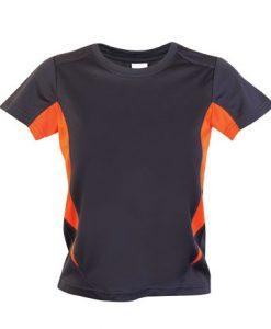 Kids Sports Tee - Cool Dry Tshirt - Charcoal/Orange, 8