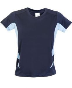 Kids Sports Tee - Cool Dry Tshirt - Navy/Sky, 6