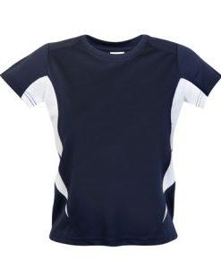 Kids Sports Tee - Cool Dry Tshirt - Navy/White, 16