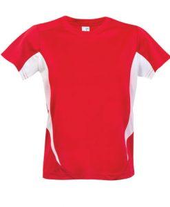 Kids Sports Tee - Cool Dry Tshirt - Red/White, 14