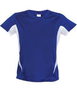 Kids Sports Tee - Cool Dry Tshirt - Royal/White, 16
