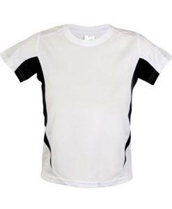 Kids Sports Tee - Cool Dry Tshirt - White/Black, 14