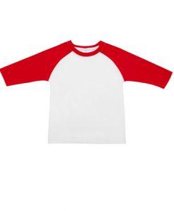 Kids Two Tone 3/4 Tee - White Body/Red Trim, 16