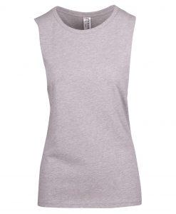 Ladies Sleeveless Tee - Deep Cut - Grey Marle, 12