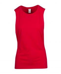 Ladies Sleeveless Tee - Deep Cut - Red, 12