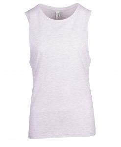 Ladies Sleeveless Tee - Deep Cut - White Marl, 6