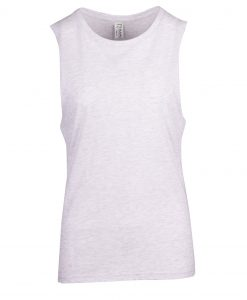 Ladies Sleeveless Tee - Deep Cut - White Marl, 8