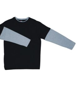 Mens Double Sleeve Tee - Black/Grey, Extra Small
