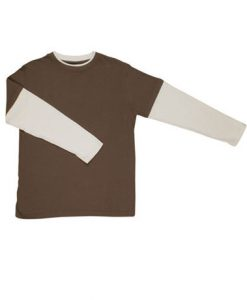 Mens Double Sleeve Tee - Brown/Bone, Medium