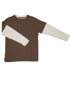 Mens Double Sleeve Tee - Brown/Bone, Small