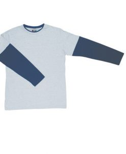 Mens Double Sleeve Tee - Grey/Navy, Medium