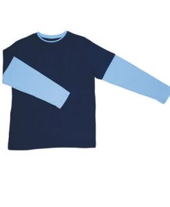 Mens Double Sleeve Tee - Navy/Sky, Large