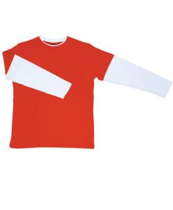 Mens Double Sleeve Tee - Red/White, Extra Small
