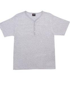 Mens Henley T-Shirt - Grey Marle, Large