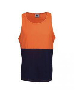 Mens Hi Vis Cool Dry Work Singlet - Orange/Black, S