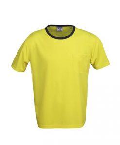 Mens Hi Vis Cool Dry Work Tee with Pocket - Yellow/Black, 3XL