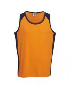Mens Hi Vis Cotton Work Singlet - Orange/Black, L