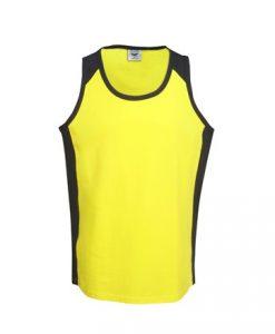 Mens Hi Vis Cotton Work Singlet - Yellow/Black, XS