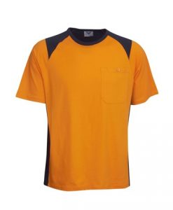 Mens Hi Vis Cotton Work Tee - Orange/Black, M