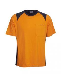 Mens Hi Vis Cotton Work Tee - Orange/Black, XS