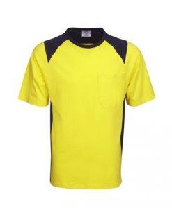 Mens Hi Vis Cotton Work Tee - Yellow/Black, XXL