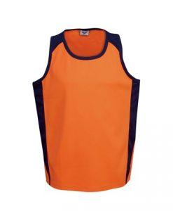 Mens Hi Vis Poly Cool Dry Work Singlet - Orange/Black, XXL