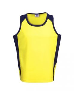 Mens Hi Vis Poly Cool Dry Work Singlet - Yellow/Black, 3XL