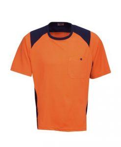 Mens Hi Vis Poly Cool Dry Work Tee with pocket - Orange/Black, M