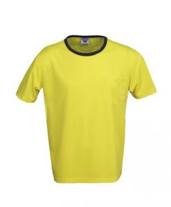 Mens Hi Vis Poly Cool Dry Work Tee with pocket - Yellow/Black, 3XL