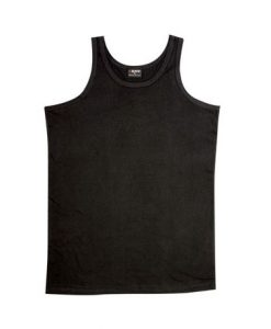 Mens Jersey Singlet - Black, Large