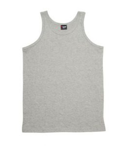 Mens Jersey Singlet - Grey Marle, Large