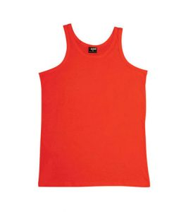 Mens Jersey Singlet - Red, Large