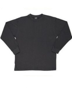 Mens Long Sleeve Tee - Black, XXL