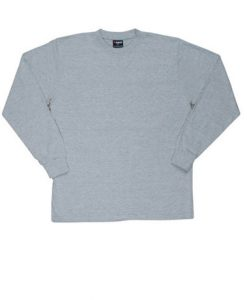 Mens Long Sleeve Tee - Grey Marle, Medium