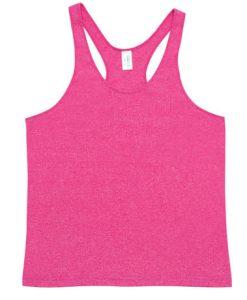 Mens Marl T-back Singlet - Hot pink, Large
