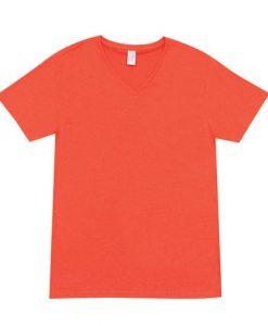Mens Marl Vee Tee - Coral Red, Large