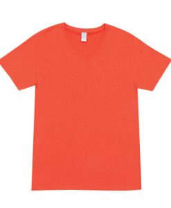 Mens Marl Vee Tee - Coral Red, Small